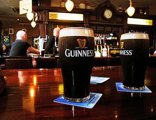 pints of beer at an Irish pub