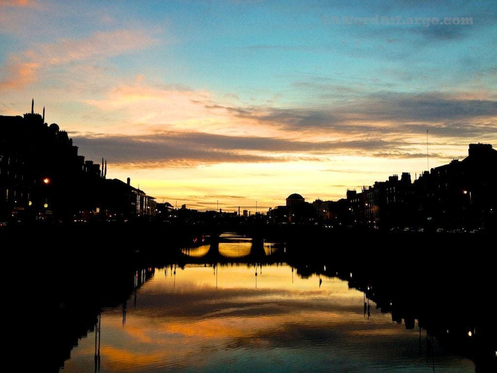 Dublin sunset Liffey