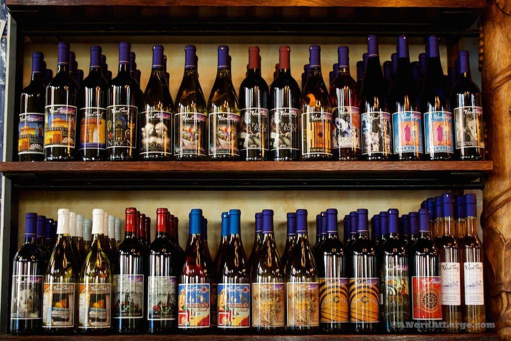 Blue Sky vineyard wine shelf Makanda Illinois