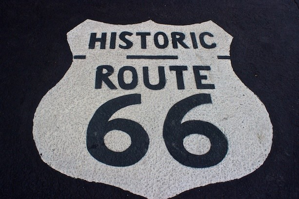 Route 66 pavement Pontiac Illinois